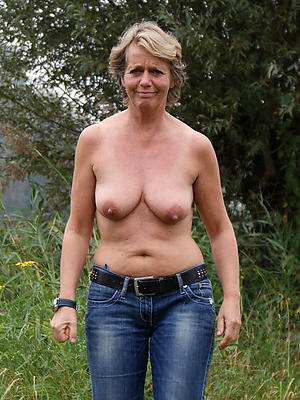 whorish mature exasperation in jeans