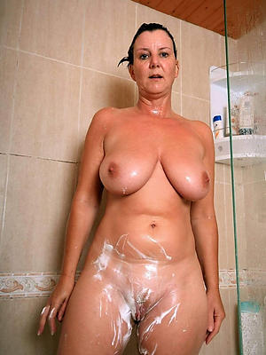 mature women in the shower posing nude