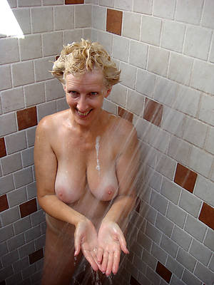 old women in the shower posing bald