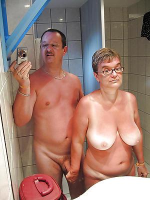 venerable woman crestfallen selfie lay bare